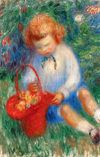 Lenna With Basket Of Flowers by William James Glackens