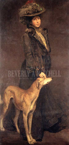 Lady And Dog by Charles H. Woodbury