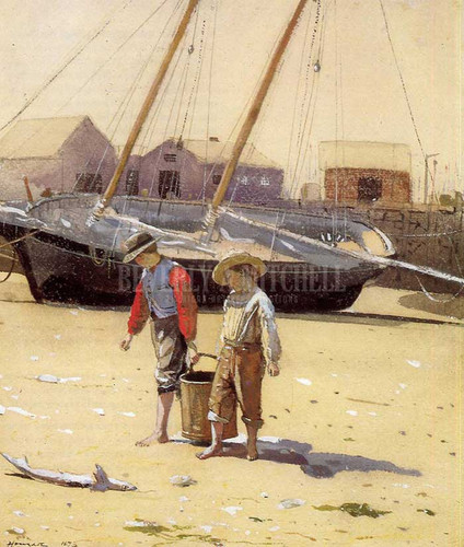 A Basket Of Clams by Winslow Homer  Oil on Canvas Reproduction from Beverly A Mitchell American Art Gallery.
