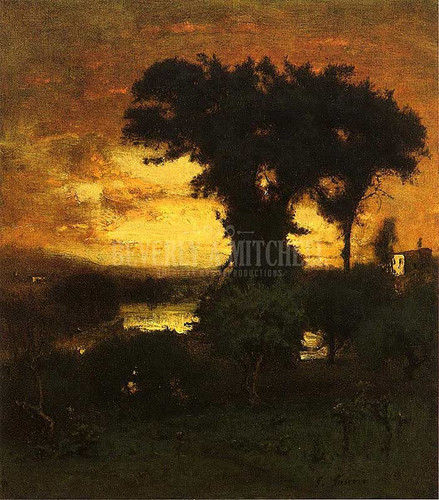 Afterglow by George Inness  Oil on Canvas Reproduction from Beverly A Mitchell American Art Gallery.