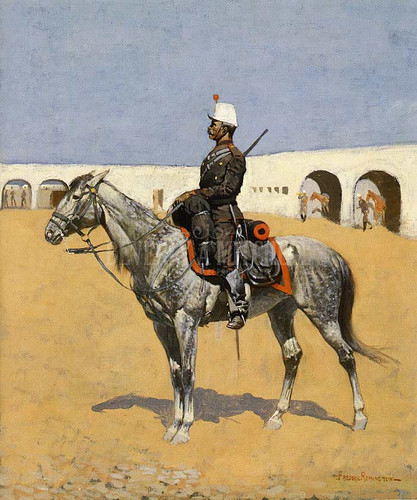 Cavalryman Of The Line Mexico by Frederic Remington  Oil on Canvas Reproduction from Beverly A Mitchell American Art Gallery.
