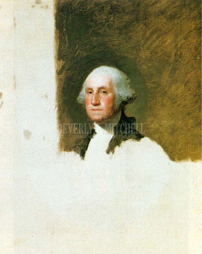 George Washington by Gilbert Stuart  Oil on Canvas Reproduction from Beverly A Mitchell American Art Gallery.