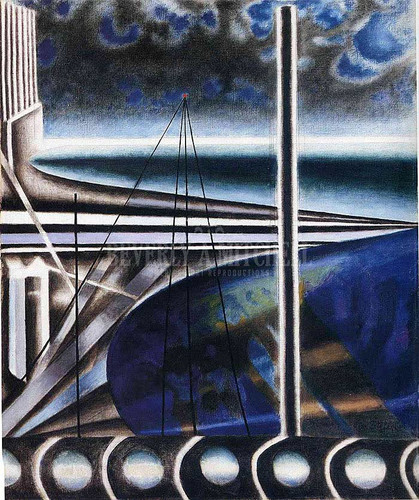 Metropolitan Port by Joseph Stella  Oil on Canvas Reproduction from Beverly A Mitchell American Art Gallery.