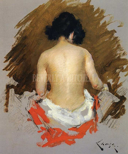 Nude by William Merritt Chase  Oil on Canvas Reproduction from Beverly A Mitchell American Art Gallery.