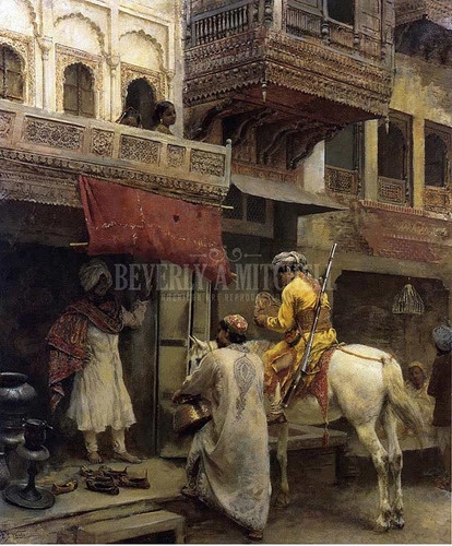 Street Scene In India by Edwin Lord Weeks  Oil on Canvas Reproduction from Beverly A Mitchell American Art Gallery.