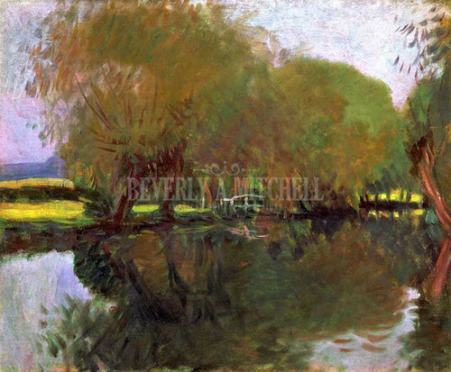 A Backwater At Calcot Near Reading by John Singer Sargent Oil on Canvas Reproduction from Beverly A Mitchell American Art Gallery. All Artwork can be optionally framed. We ship Worldwide.
