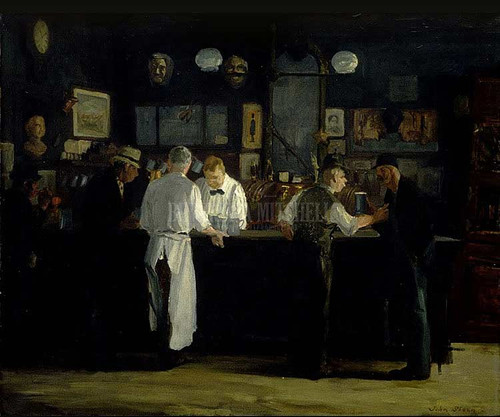 Mcsorleys Bar 1912 by John Sloan Oil on Canvas Reproduction from Beverly A Mitchell American Art Gallery. All Artwork can be optionally framed. We ship Worldwide.