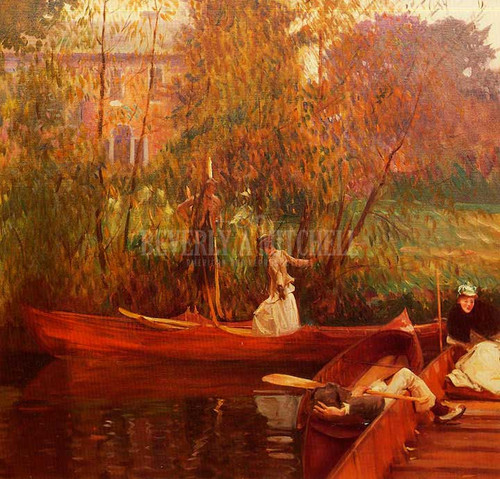 A Boating Party by John Singer Sargent Oil on Canvas Reproduction from Beverly A Mitchell American Art Gallery. All Artwork can be optionally framed. We ship Worldwide.