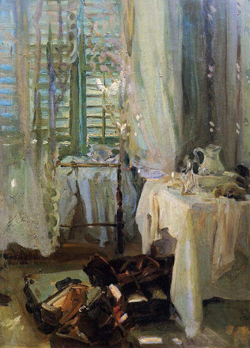 A Hotel Room by John Singer Sargent Oil on Canvas Reproduction from Beverly A Mitchell American Art Gallery. All Artwork can be optionally framed. We ship Worldwide.