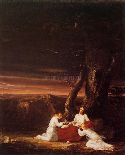 Angels Ministering To Christ In The Wilderness 1843 by Thomas Cole Oil on Canvas Reproduction from Beverly A Mitchell American Art Gallery. All Artwork can be optionally framed. We ship Worldwide.