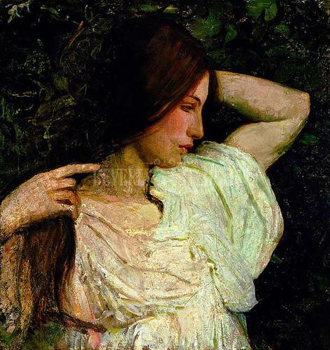 Girl Arranging Her Hair by Abbott Handerson Thayer