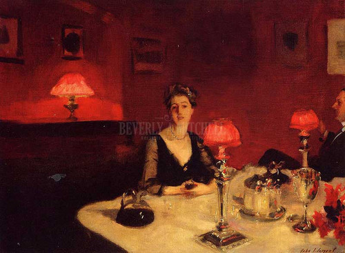 A Dinner Table At Night Aka Mr. And Mrs. Albert Vickers by John Singer Sargent