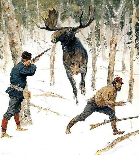 The Moose Hunt by Frederic Remington
