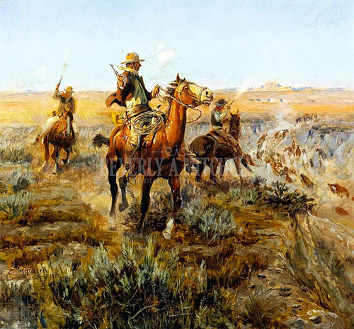 Smoking Cattle Out Of The Breaks by Charles Marion Russell