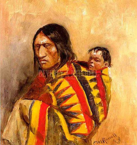 Stone In Moccasin Woman by Charles Marion Russell