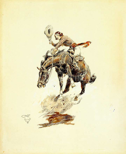 Bucking Horse And Cowgirl by Charles Marion Russell