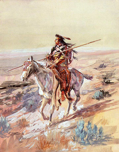 Indian With Spear by Charles Marion Russell