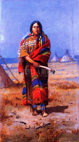 Indian Squaw by Charles Marion Russell