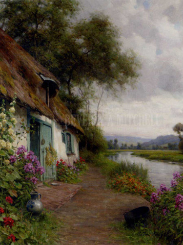 A Riverside Cottage by Louis Aston Knight
