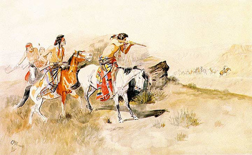 Attack On Muleteers by Charles Marion Russell