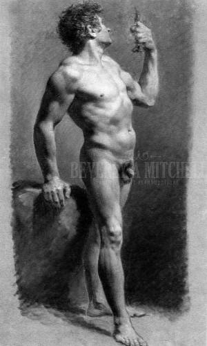 Male Nude Turning by Pierre Paul Prud Hon