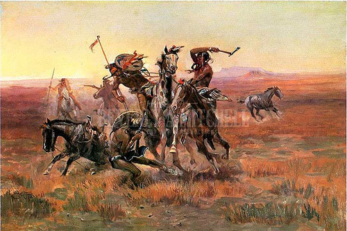 When Blackfeet And Sioux Meet by Charles Marion Russell