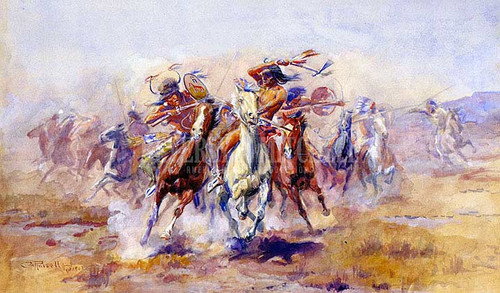 When Sioux And Blackfeet Meet by Charles Marion Russell