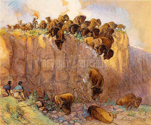 Driving Buffalo Over The Cliff by Charles Marion Russell