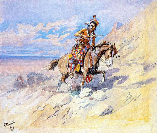 Indian On Horseback by Charles Marion Russell