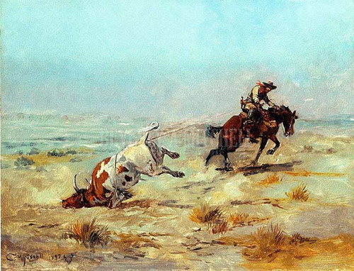 Lassoing A Steer by Charles Marion Russell