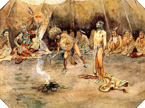 Sioux Torturing A Blackfoot Brave by Charles Marion Russell