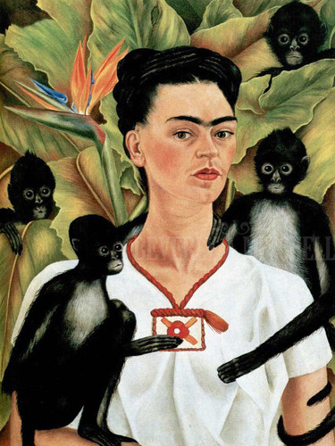 Self Portrait With Monkeys by Frida Kahlo