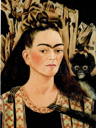 Self Portrait With Small Monkey by Frida Kahlo