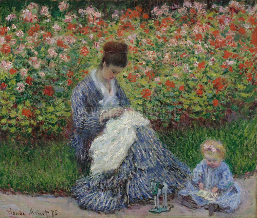 Camille Monet And A Child In The Artist S Garden In Argenteuil By  Monet Claude