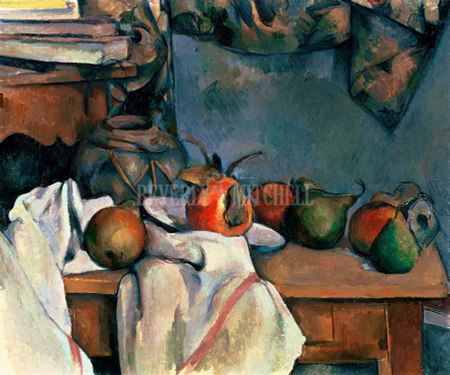 Ginger Pot With Pomegranate And Pears By  Cezanne Paul