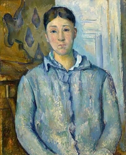 Madame Cezanne In Blue By Cezanne Paul