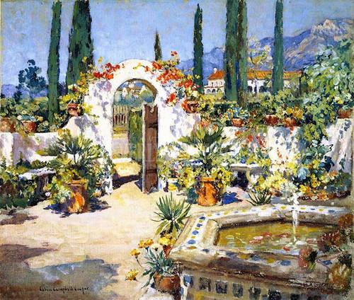 A Santa Barbara Courtyard by Colin Campbell Cooper
