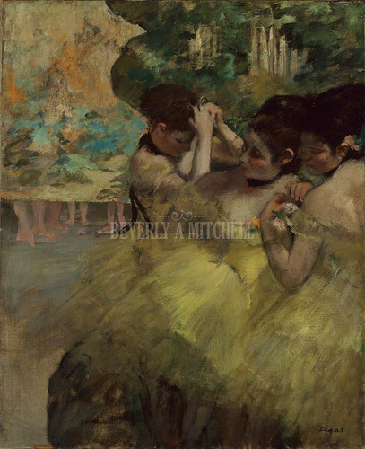 Yellow Dancers In The Wings By Degas Edgar