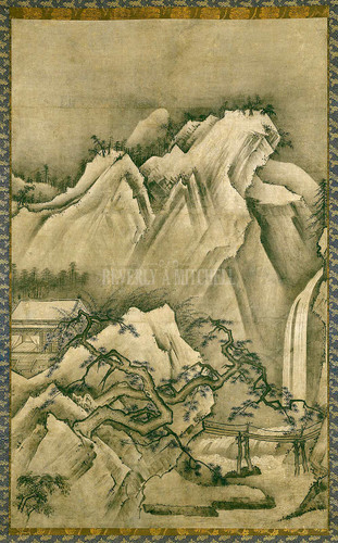 Hanging Scroll Pavilions In A Mountain Landscape By Unknown. Muromachi Period