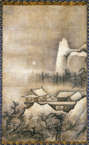 Hanging Scroll Pavilions In A Mountain Landscape By Unknown. Muromachi Period1