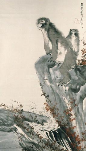 Mountain Monkeys By Rosetsu Nagasawa
