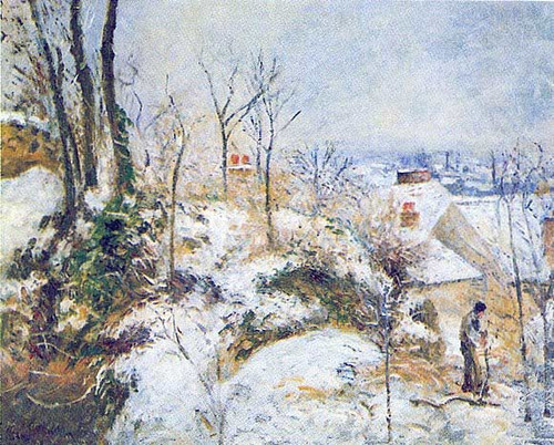 Cottage At Pontoise In The Snow 1879 By Camille Pissarro