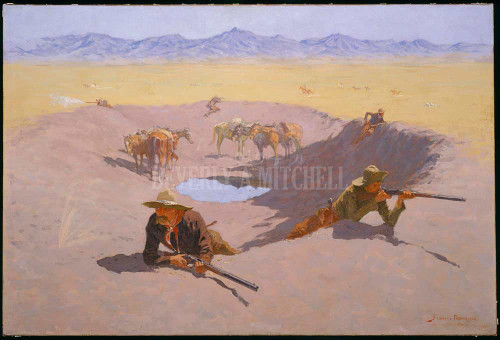 Fight For The Waterhole By  Frederic Remington