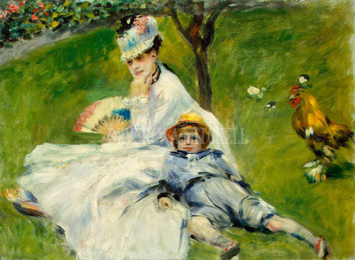 Madame Monet And Her Son By Renoir Pierre Auguste