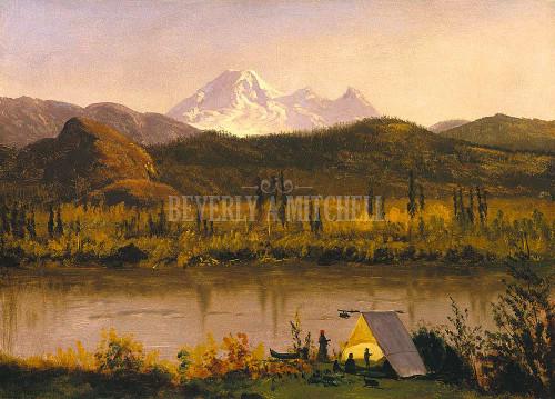 Mount Baker Washington From The Frazier River Encampment In The Rockies By Albert Bierstadt