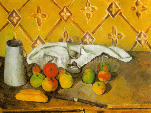 Pitcher Fruits And Tablecloth By Paul Cezanne
