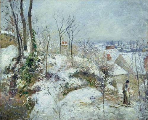 Rabbit Warren At Pontoise Snow By Pissarro Camille