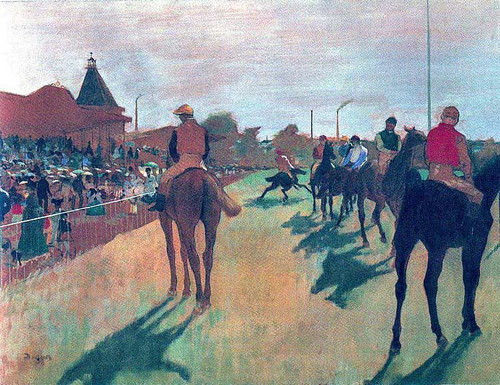 Race Horses In Front Of The Stands 1869 By Edgar Degas