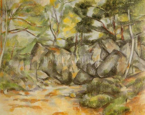 Rock In The Woods By Paul Cezanne