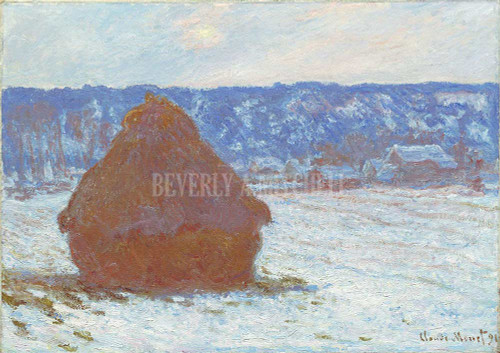 Stack Of Wheat Snow Effect Overcast Day By Monet Claude
